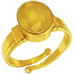 RS JEWELLERS Gemstones 5.32 Ratti Natural Certified Yellow Sapphire Pukhraj Gemstone Panchdhatu Ring ,Pukhraj Birthstone Astrology Ring