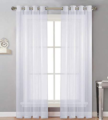 CurDecor Tüll Schiebegardinen, Weich Sheer Fenster Drapes Lightweight Easy Care Romantisch Volant Für Wohnzimmer-Weiß 130x150cm(51x59inch)