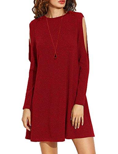 Monissy Femme Épaule Cassée Jupe lâche à Manches Longues Mini Robe Rouge