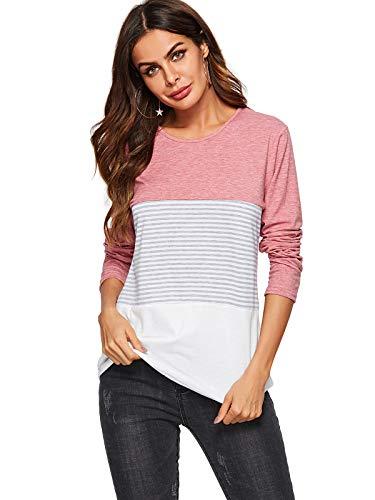 AMORETU Damen Bequemes Patchwork Rosa T-Shirt Gestreift Casual Bluse Langarm Tunika Tops L