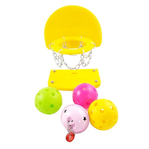 TREESTAR 1 Pcs Pet Birds Puzzle Chew Toy Acrylic Basketball Hoop Agility Intelligence Training Prop with Balls for Small Parakeets Cockatiels, Conures, Macaws, Parrots, Love Birds, Finches(Gelb 8,5 x 5,5 x 15cm) (Conure Sun Parrot)