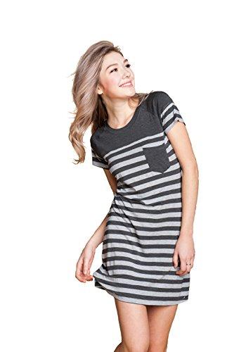 Marster Fashions Damen Baumwolle Nachthemd SleepshirtGrey,L,1002W)