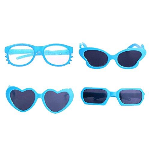 MagiDeal 4 Paar Mini Kunststopffrahmen Sonnenbrillen Gläser für 18'' Puppen - Blau