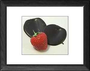 Tableau encadré Motif fraise avec tablette de chocolat foncé