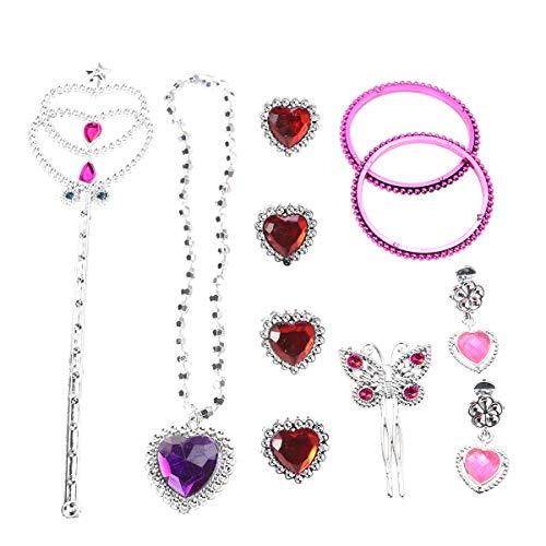 Mädchen verkleiden Sich zubehör so tun als ob Prinzessin Spielzeug Set mädchen fee zauberstäbe spielhaus Dekoration mit Halskette Ohrringe Ringe fee zauberstab armbänder ()