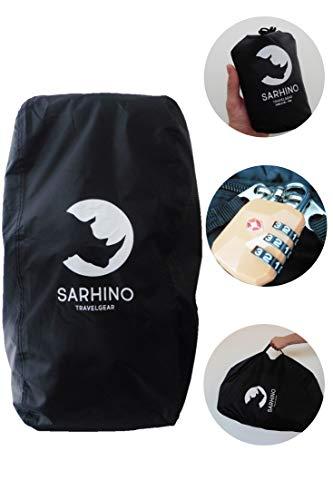 Sarhino Shield Transporthülle für Rucksäcke - Flightbag/Reiseschutz und Regenschutz - Schwarz (Medium 50-70l)