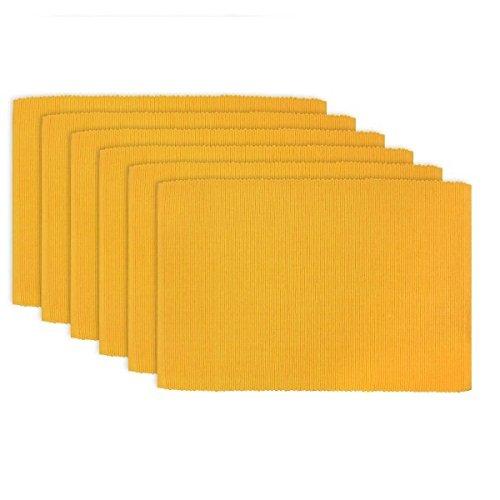 Dhrohar Hand Woven Cotton Table Mat - Pack Of 6 Mats - Dark Yellow
