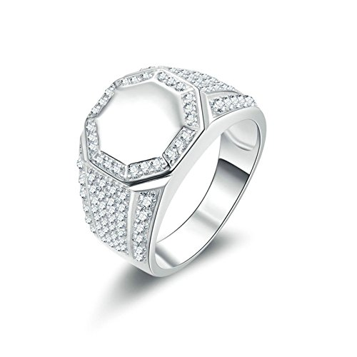Beydodo anello zirconi uomo anello sigillo con rotonda brillante diamante taglia 15 anello nuziale argento