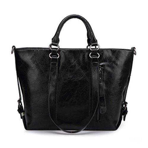 MYLL Frauen-Schultertasche Damen Leder Messenger Bag Black