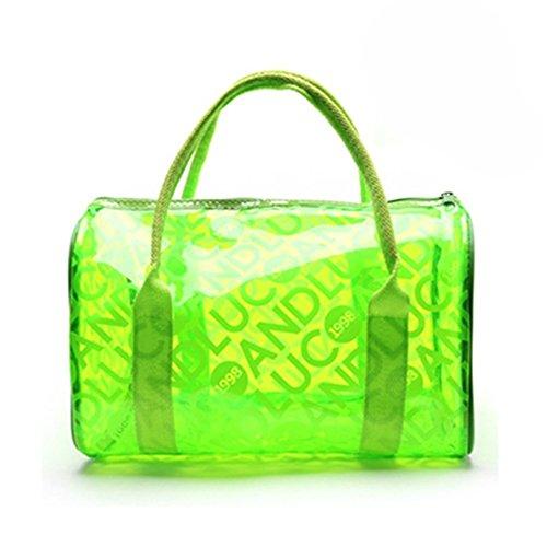 Qiansheng Fashion Portable Jelly colorati pois estivo da spiaggia in PVC trasparente borse borsetta nuoto impermeabile fitness sport lavaggio borsa con cerniera per donne, Orange, taglia unica Green
