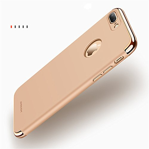 "iPhone 7 Plus Hülle,Heyqie 3 in 1 Ultra-thin 360 Full Body Anti-Scratch Shockproof Hard PC Non-Slip Skin Smooth Back Cover Case with Electroplate Bumper For Apple iPhone 7 Plus 5.5"" - Black Gold"