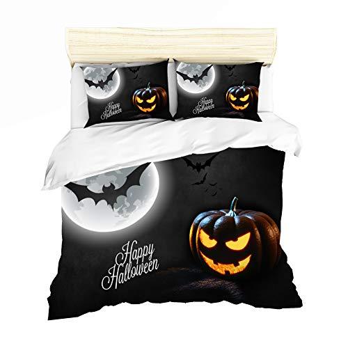 Bettbezug Bettwäsche, Kinderkarikatur Halloween Einzelbett King-Size-Bett Doppelbett Polyester Bequeme Bettwäsche,Black,UKsuperking ()