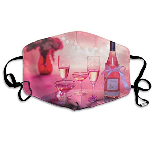 HUSDFS Mouth Masks Happy Valentine's Day Wine Set Mouth Mask Unisex Anti-Dust Mask Reusable Mask for Men and Women
