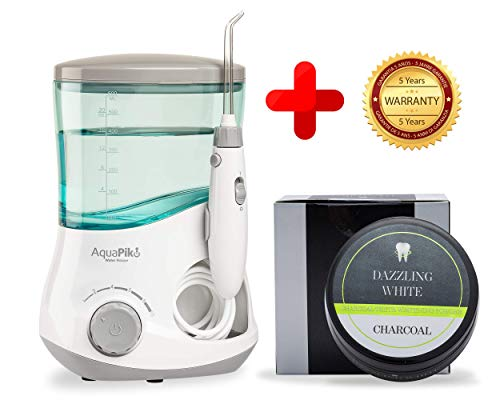 Boston Tech - Aquapik 100 - Irrigador dental Profesional (incluye 7 Boquillas) + Regalo Boston White, Polvo de Carbón Blanqueador Recomendado a nivel mundial. Ideal para toda la familia