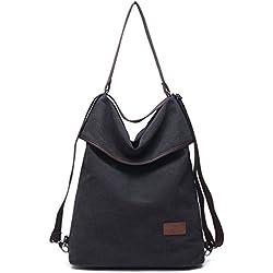 Hozee Canvas Tasche Damen Rucksack Handtasche Damen Vintage Umhängentasche Anti Diebstahl Tasche Hobo Tasche für Alltag Büro Schule Ausflug Einkauf