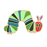 YUnnuopromi Cartoon Strawberry Worm Women Enamel Collar Brooch Pin Lapel Badge Clothes Decor Jewelry Gift Caterpillar
