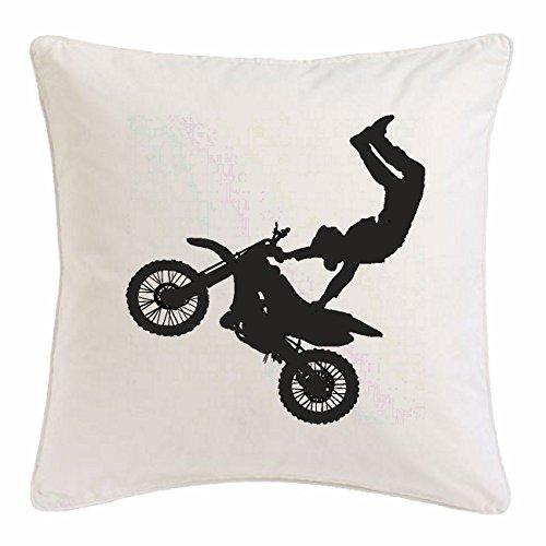 "Preisvergleich Produktbild Kissenbezug 40x40cm ""MOTOCROSS SILHOUETTE 125CCM MOTO-CROSS FREESTYLE MOTOCROSS MOTORRAD SPORT BEKLEIDUNG BIKER MOTORRAD BIKE MASCHINE"" aus Mikrofaser in Weiß"