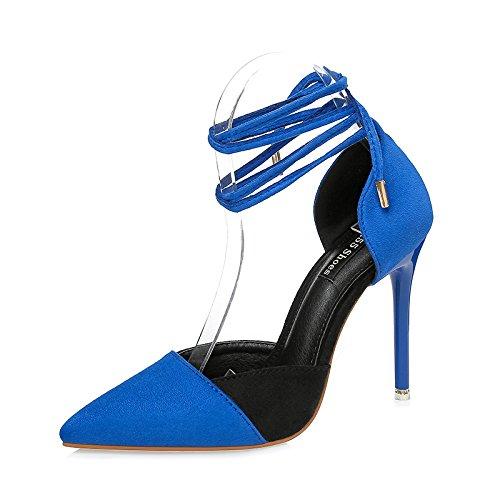 LGK&FA Scritto Tacco Alto Scarpe Sandali Di Pizzo Sandali Nodi A Farfalla E Sandali 36 Blu 37 blue