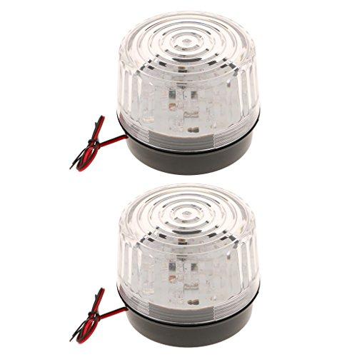 Sharplace 2x Rund Verkehr Arbeitszone Blitzleuchte Blinklampe Warnleuchte Alarmlampen 12V DC, 120mA Signalalmpe -Weiß