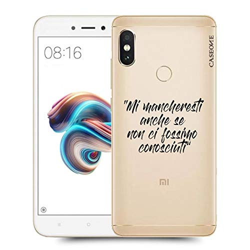 Caseone® Cover In Gomma Tpu Frase Mi Mancheresti Per Xiaomi Redmi Note 5 Pro Trasparente