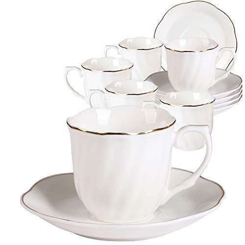 Neue Bone China kaffeetassen mit Untertassen 6er Set-Weiß Fine Porzellan Cappuccino Set 7OZ 220ml mit Schrägstriche Dekor und Gold Rand Design Gold Bone China