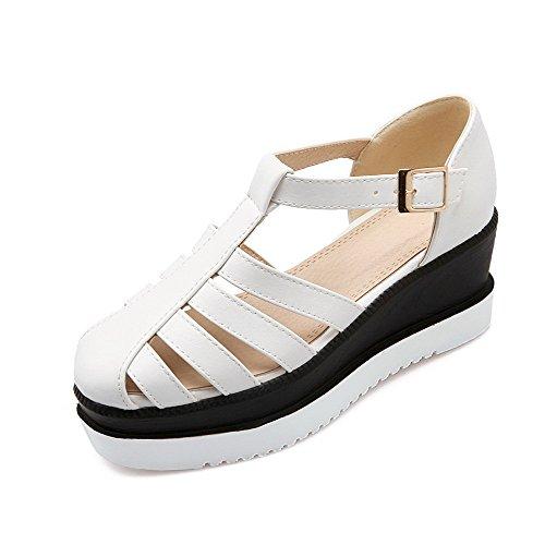VogueZone009 Femme à Talon Correct Pu Cuir Rond Boucle Chaussures Légeres Blanc