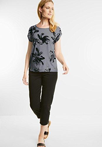 CECIL Damen Shirt mit Glitzerblüten Grau (Silver Grey)