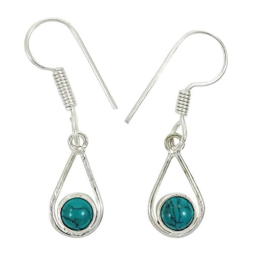 Plaqué Argent Turquoise Pierre Dangle Boucles D'Oreilles Femmes Indiennes Mode Bijoux Cadeau Pour Les Femmes vert