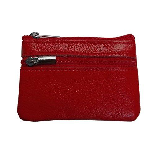Swallowuk Donna Mini Sacchetto di Cuoio Borsa Della Moneta Creativa Zipper Portafogli (Rosso) Rosso