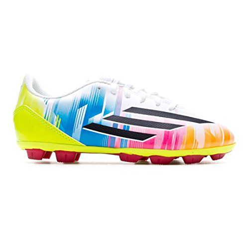Messi Adidas F5 TRX HG Junior, (White / Black / Solar Slime / Mixed), 36 2/3 EU
