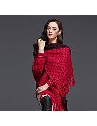 Yetta Manteau châle Femme Automne et Hiver avec Manches Manteau frangé  épaisse écharpe Chaude Veste tricotée 0412c02e790