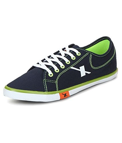 Sparx Men's Navy Blue and Green Canvas Trendy Casual Shoes