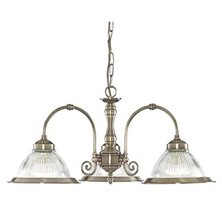 Searchlight American Diner Antique Brass and Clear Ribbed Glass 3 Way Pendant Light Fitting Takes 3 X 10 Watt E27 Lamps
