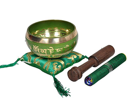 Dharma Store Tibetische Klangschale, hergestellt in Nepal grün