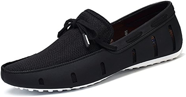 Aleader Men's Lace up Loafers Swim Shoes Black/White 10.5 D(M) US