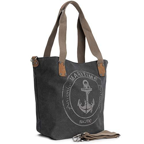 Damen Handtasche Schultertasche Umhängetasche Tasche Canvas Groß 40 x 33 x 17,5 cm CL 51 (Anthra)