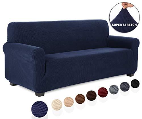 TIANSHU Housse de canapé 3 Place,Jacquard Housse de Canapé Extensible Extensible avec Accoudoirs Revêtement de Canapé Decoration pour Salon Chambre (3 Place,Bleu Foncé)