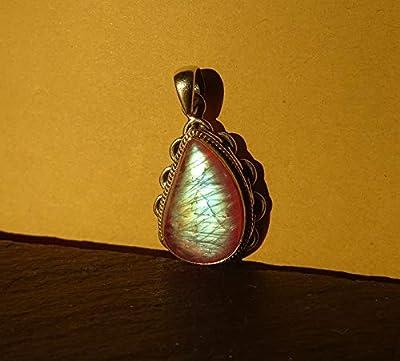 Pendentif Ethnique, collier en labradorite violette(pierre de lune couleur violette), en agent Massif 925, pièce unique!!!