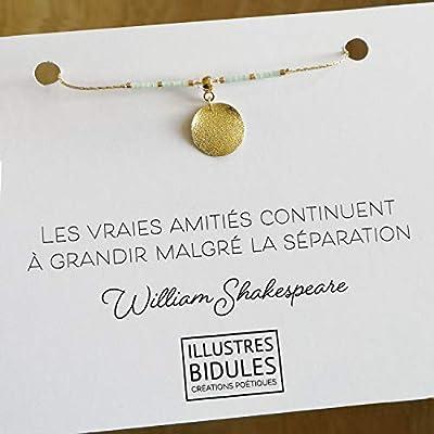 Bracelet amitié femme: Les vraies amitiés continuent à grandir malgré la séparation - bracelet à message - bracelet à citation - bracelet poétique - bracelet litéraire