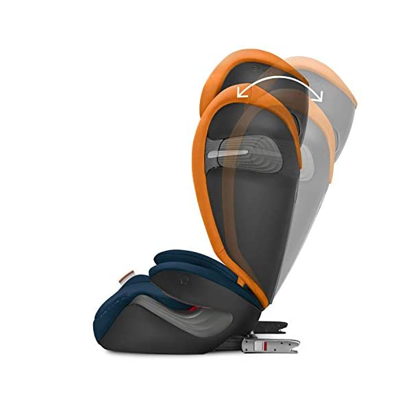 CYBEX Gold Solution S-Fix Child's Car Seat, For Cars with and without ISOFIX, Group 2/3 (15-36 kg), From approx. 3 to approx. 12 years, Indigo Blue Cybex Sturdy and high-quality child car seat with long service life - For children aged approx. 3 to approx. 12 years (15-36 kg), Suitable for cars with and without ISOFIX Maximum safety - Built-in side impact protection (L.S.P. System), 3-way adjustable headrest, Energy-absorbing shell 12-way adjustable, comfortable headrest, Adjustable backrest, Extra wide and deep seat cushion, Ventilation system 4