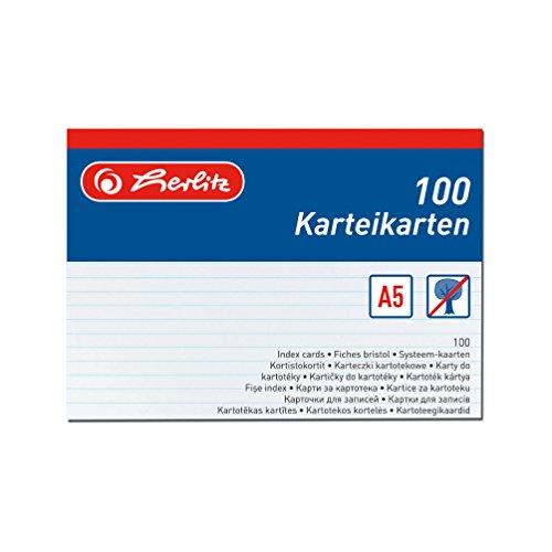 Herlitz 1150507 Karteikarte A5, 100 Stück, weiß