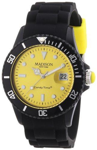 Madison New York Candy Time Blackline U4486-02 - Reloj analógico de cuarzo unisex, correa de silicona color negro