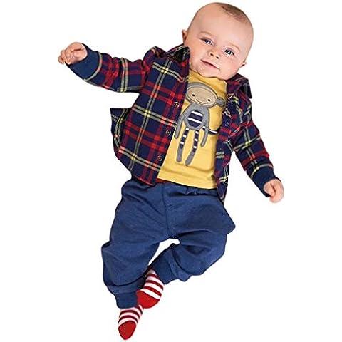 Ularma Neonato E Bambino Camicia A Maniche Lunghe + Cappotto + Pantaloni Abiti (3 4 Camice Lunghezza)