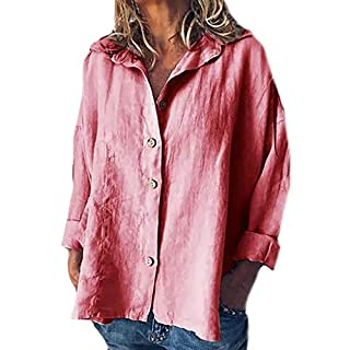 BaZhaHei Ladies Casual Blouse Shirt Outdoor Home Daily Tops Womens Plus Size Loose Cotton Linen Shirt Button Down T-Shirt Pink