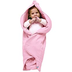 Wallaboo Einschlagdecke Fleur für Babyschale, Autokinderstitz, für Kinderwagen, Suße Blumenform, 0-12 Monaten, Farbe: Rosa