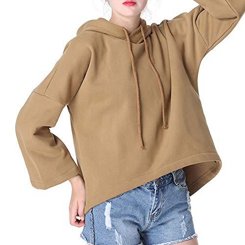 LiucheHD-Donna Manica Lunga Felpa Eleganti Tumblr Ragazza Fashion Design Felpa con Cappuccio Casual Top Elegante Camicetta