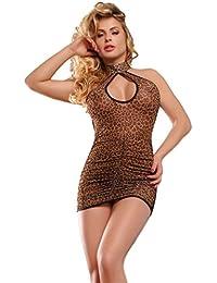 saphira mode. Leopard Minikleid Mesh. Rückenfrei. String enthalten