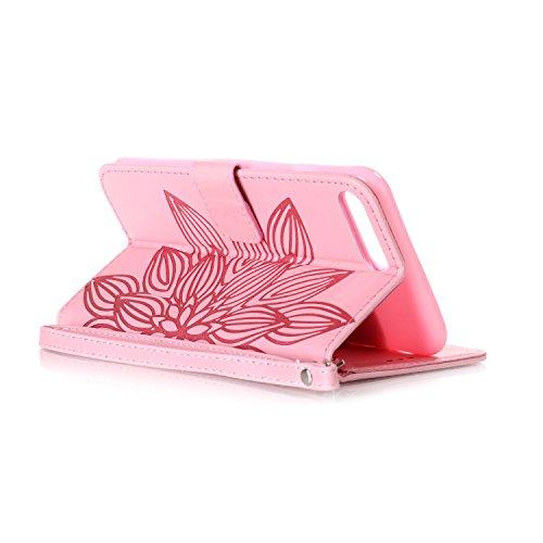 MOONCASE iPhone 7 Plus Étui, Fleur Vintage Relief Motif Protection en PU Cuir Folio Housse Béquille Etui à rabat Case Cover avec Porte-cartes Fentes Portefeuille Béquille Fermeture Magnétique pour iPh Rose