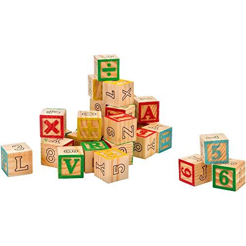 Legnoland 37843 - Holzwürfel Buchstaben/Zahlen/Symbole, 30 Teil Würfel, 3 x 3 cm