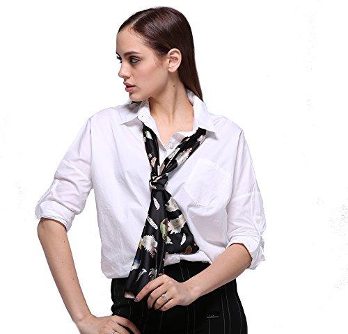 Damen Stilvoll Feder Schals Halstücher Kopftücher Skinny Scarf Handgelenk Band Choker Krawatten Twilly(Mehrfarbig) (Skinny Silk Schal)